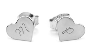 SilvexCraft Design: One or Two Pairs of Custom Engraved Heart Stud Earrings from SilvexCraft Design (Up to 76% Off)