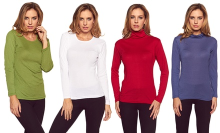 Women's Ribbed Crew Neck or Turtle Neck Sweater