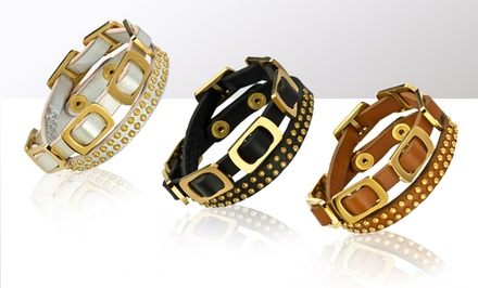 Genuine Leather Stud and Buckle Bracelets. Multiple Colors. Free Shipping and Returns.
