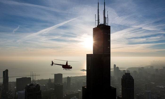 Chicago Helicopter Express - Wheeling: Sunset orCity Lights at Night Tourfor Two from Chicago Helicopter Express ($429 Value)