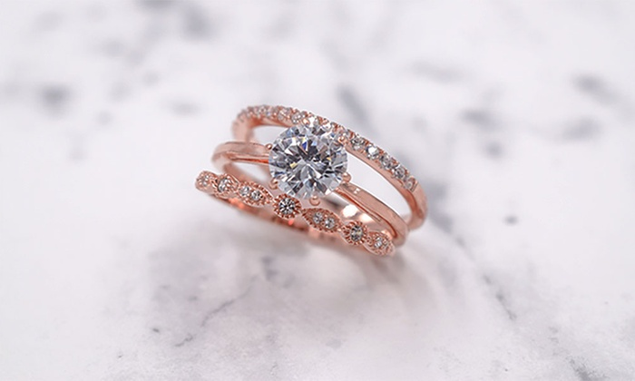cubic zirconia rose gold plated engagement wedding ring set 3 pc - 3 Piece Wedding Ring Sets