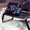 LEVO Bed Table with Power Bank for Tablets, Smartphones, and Laptops