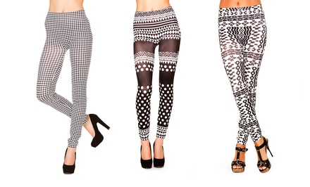 Just One Women's Black and White Seamless Leggings. Multiple Options Available. Free Returns.