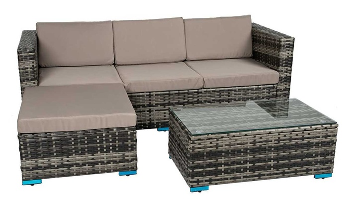 Four-Seater Rattan-Effect Outdoor Sofa Set from £329.99
