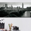 Gallery-Wrapped Black and White Panoramic City-Skyline Canvas Print