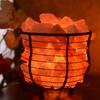 Natural Himalayan Basket Bowl Lamp with Salt Chips