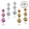 Three-Stone Colored Cubic-Zirconia Earrings