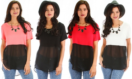 Lyss Loo Women's Color Block Top. Available in Regular and Plus Sizes
