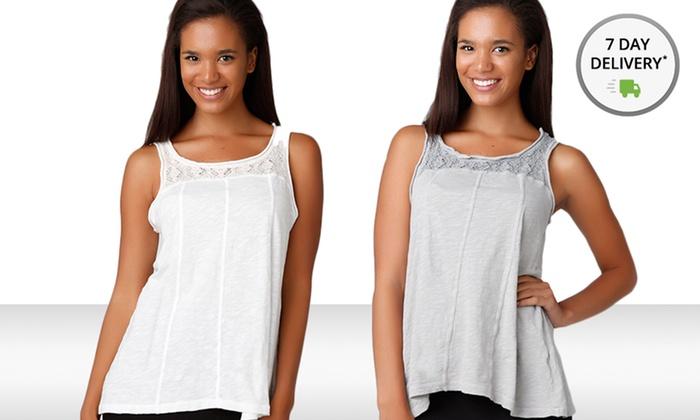 2-Pack of Sleeveless Lace Yoke Hi-Lo Tops: 2-Pack of Left of Center Tank Tops with Lace. Free Shipping and Returns.