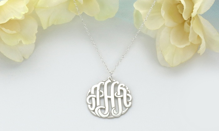 ShopOnlineDeals: Sterling-Silver Monogram Pendant, Chain, or Both from ShopOnlineDeals (Up to 94% Off)