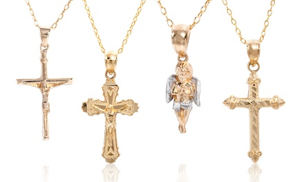 14K Solid Gold Religious Charm Necklace