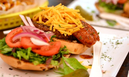 Burgers and Hot Dogs at Dis & Dem (Up to 75% Off). Four Options Available.