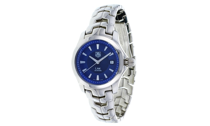 Tag Heuer Women's Watch: Tag Heuer Women's Link Watch in Silver with Blue Dial. Free Shipping.
