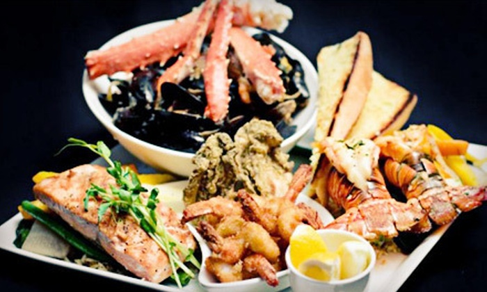 Wharfside Seafood Grille - On the Harbour: Seafood Dinner with Appetizer, Entree, and Dessert for Two or Four at Wharfside Seafood Grille (Up to 59% Off)