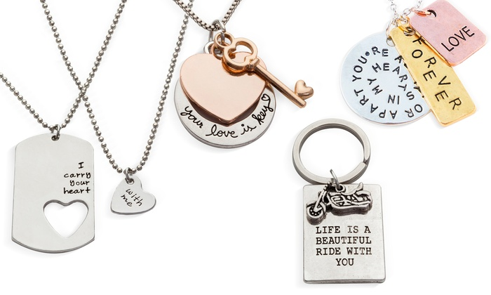 Stamp the Moment: True Love Necklaces or Keychain in Rhodium Plated Alloy
