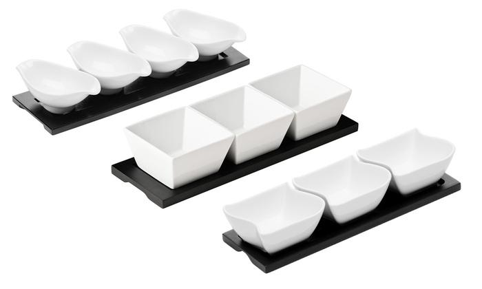 Premier Housewares Porcelain Oval Snack Bowls on Black Tray White Set of 4