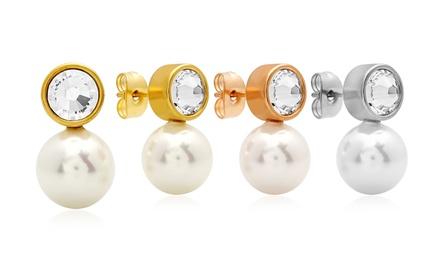 Drop Faux Pearl Earrings with Swarovski Elements