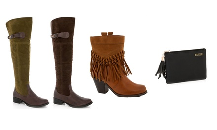 Lady Godiva Women's Short Western or Knee-High Riding Boots with Free Pouch