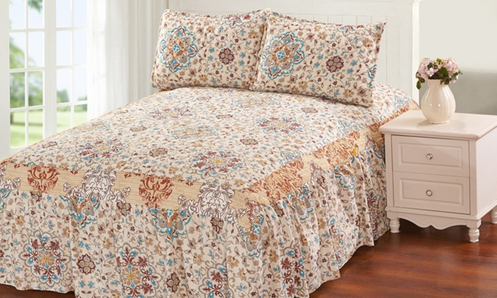 Hailey Khloe Bedspread Set With Attached Bed Skirt 3 Piece