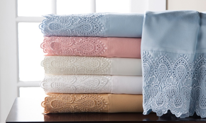 Up To 71 Off On 600tc Cotton Rich Lace Sheets Groupon Goods