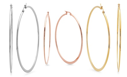 18K Gold-Plated or Stainless Steel Hoop Earrings