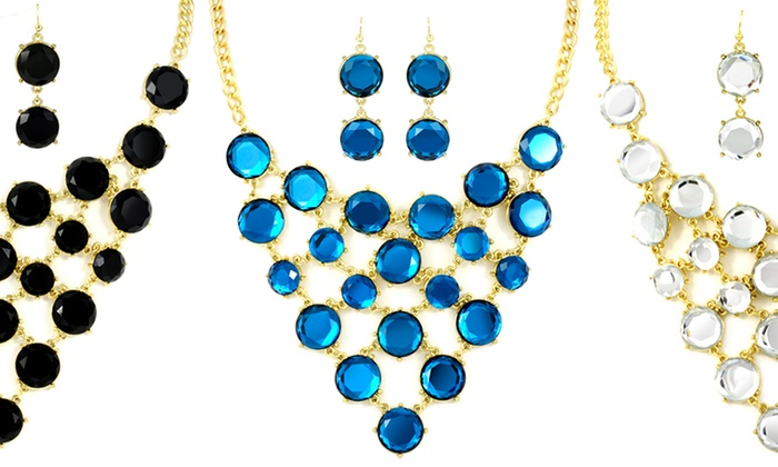 18K Gold-Plated Bubble Jewelry: 18K Gold-Plated Bubble Necklace and Earring Set. Multiple Colors Available. Free Returns.