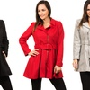 Miss London Women's Plus Size Trench Coat