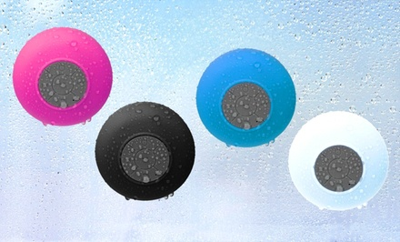 groupon daily deal - Merkury Waterproof Bluetooth Shower Speaker with Built-In Microphone. Multiple Colors Available.