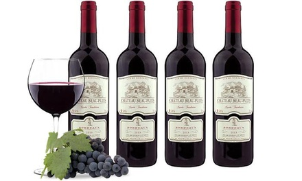 $49 for Four Bottles of 2013 Château Beau-Puits Bordeaux with Shipping from Heartwood & Oak ($155.91 Value)