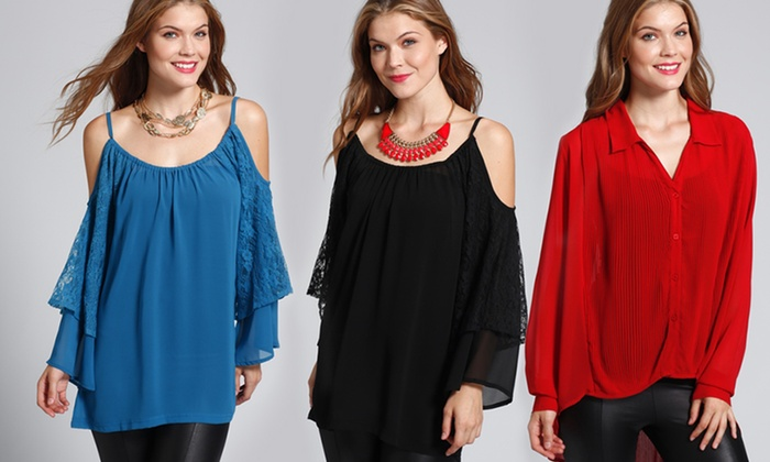Classique Blouses: Classique Pullover Top or High-Low Long-Sleeved Blouse in Gray, Black, Red, or Teal. Free Shipping and Returns.