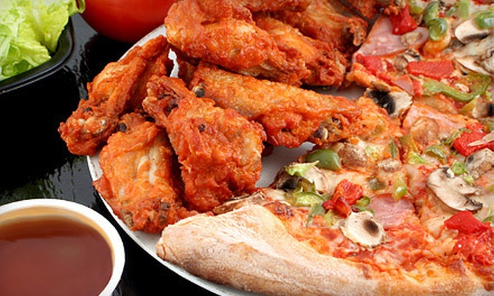 St. Louis Pizza and Wings - Saint Louis: $15 for One Extra-Large One Topping Pizza, 10 Wings, and a Large House Salad at St. Louis Pizza and Wings ($31.47 Value)