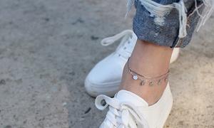 (Bijou)  Bracelet cheville argent  -80% réduction
