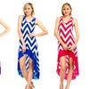 Women's Chevron High-Low Racerback Dress