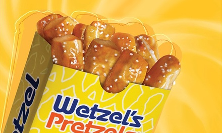 1 or 2 Groupons, Each Good for $9 Worth of Snacks at Wetzel's Pretzels Cherry Vale Mall Rockford IL (44% Off)