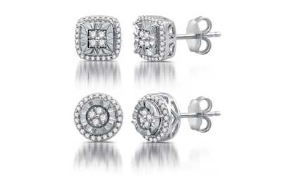 Groupon 1 4 Cttw Diamond Cushion Or Round Shape Stud Earrings By Decarat