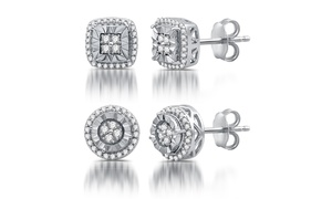1/4 CTTW Diamond Cushion or Round Shape Stud Earrings by DeCarat