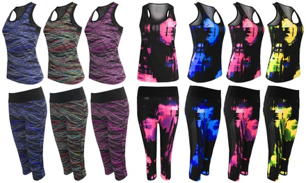Women's Top and Leggings Contrast Activewear Set