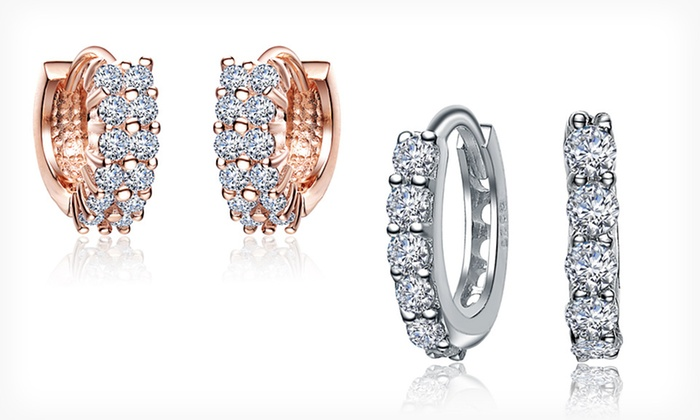 Hoop Earrings with Cubic-Zirconia Accents: Hoop Earrings with Cubic-Zirconia Accents (Up to 86% Off). Multiple Styles Available.