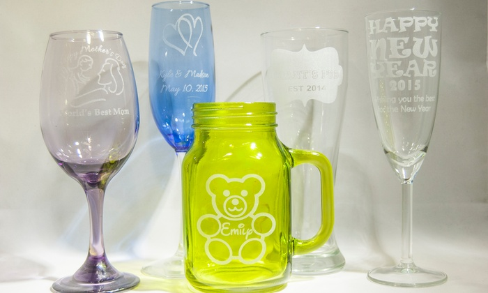 Lasting Glass Things - Vallejo: One, Two, or Four Glassware Engravings at Lasting Glass Things (Up to 62% Off)