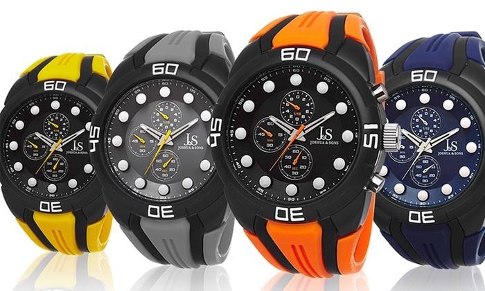 Joshua & Sons Men's Sports Watches: Joshua & Sons Men's Sports Watch in Blue, Gray, Orange, or Yellow. Free Returns.