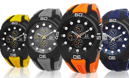 Joshua & Sons Men's Sports Watch in Blue, Gray, Orange, or Yellow. Free Returns.