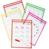 Reusable Dry Erase Study Aid Pouches:Assorted Neon Colors (25-Pack)