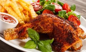 Hühner Hugo: Halbes Hähnchen mit Pommes, Mayo und Salat für 1 bis 4 Personen bei Hühner Hugo (bis zu 34% sparen*)