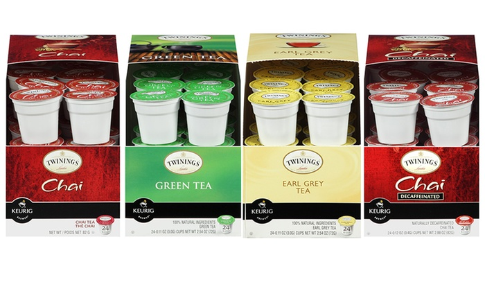 Twinings Tea K-Cups (4-Pack): Twinings Tea K-Cups; 4-Pack of 24ct. Boxes + 5% Back in Groupon Bucks. Multiple Flavors Available.