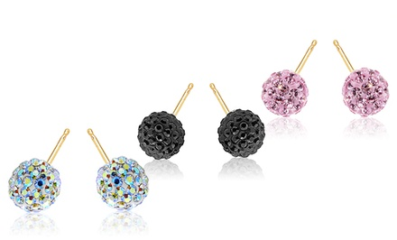 14K Gold Kids Crystal Ball Earrings made with Swarovski Elements