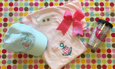 Custom Monogramming at The Preppy Monogram (50% Off). Two Options Available.