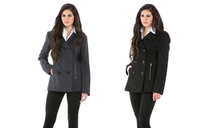 Jones New York Women's Peacoat with Zipper Pockets