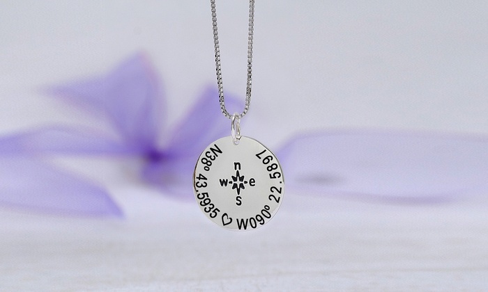 MonogramHub: $5 for a Custom Compass Necklace with Coordinates from MonogramHub ($64.99 Value)