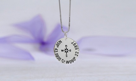$5 for a Custom Compass Necklace with Coordinates from MonogramHub ($64.99 Value)