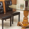 Set of 2 Tufted Bonded-Leather Dining Chairs